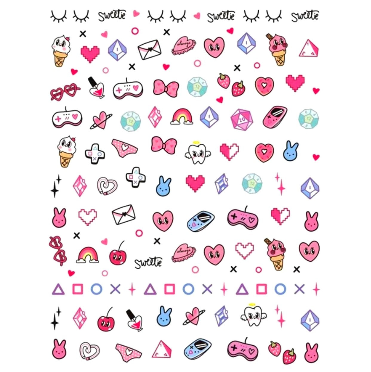 90's Gamer Girl Nail Stickers