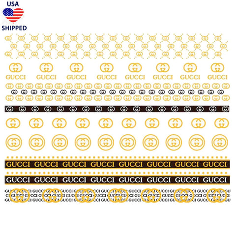 (USA) GG Gold/Black/White Nail Stickers