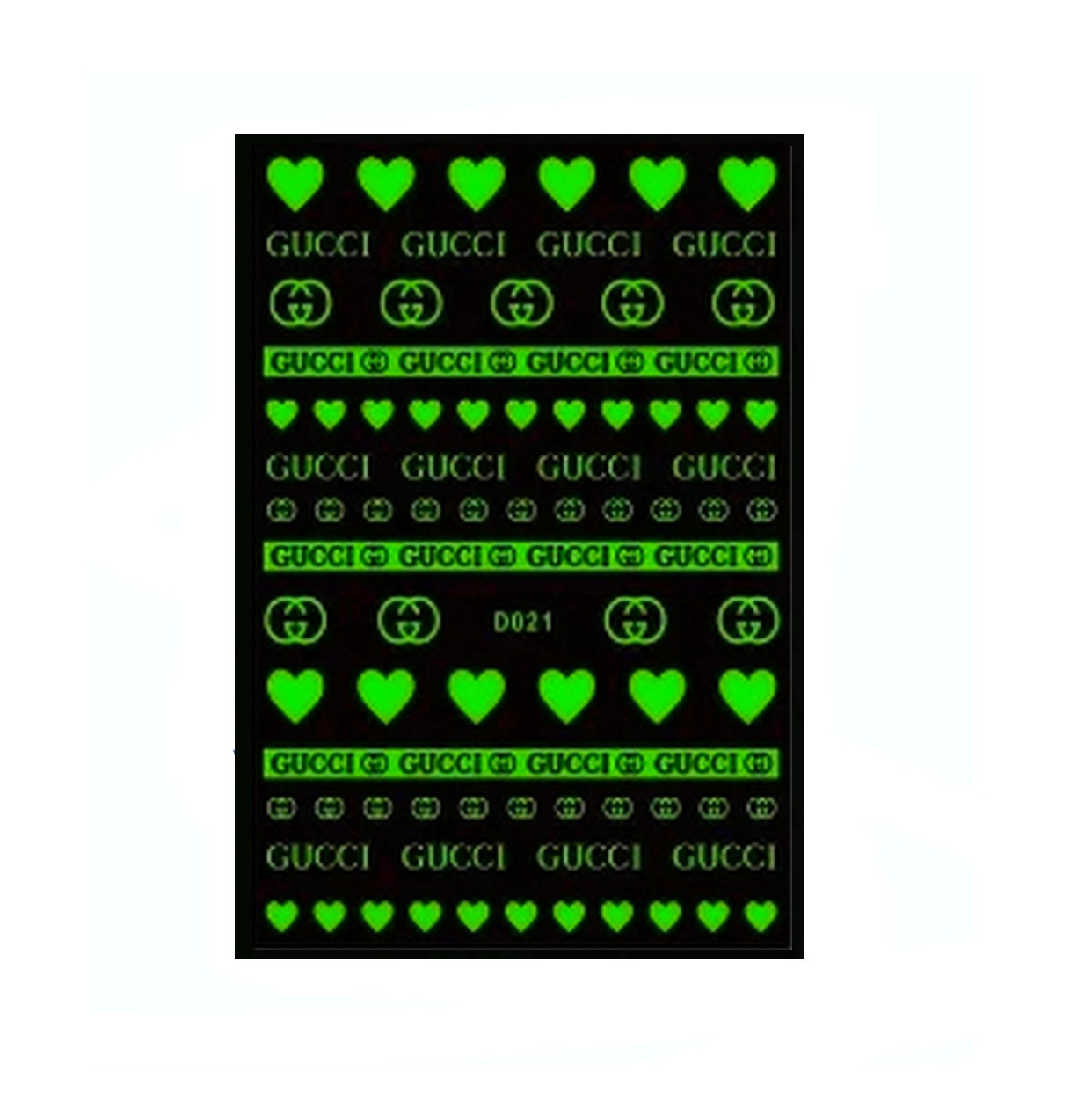 GG White/Glow in the Dark Nail Stickers
