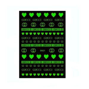 G White/Glow in the Dark Nail Stickers
