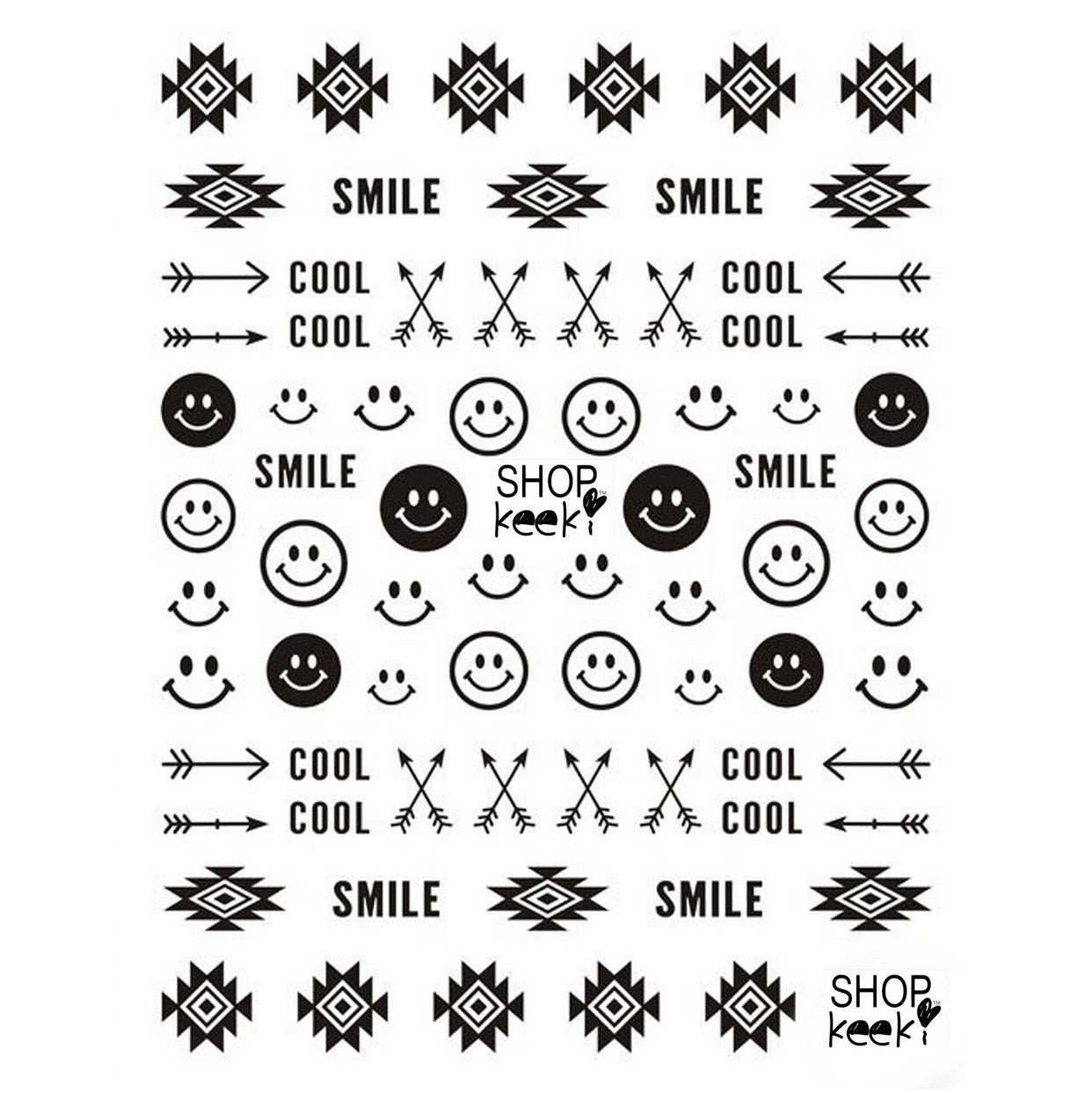 Festival Good Vibes Tribal Black Nail Stickers