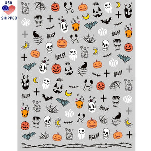 (USA) Halloween Spooky Mix Nail Stickers