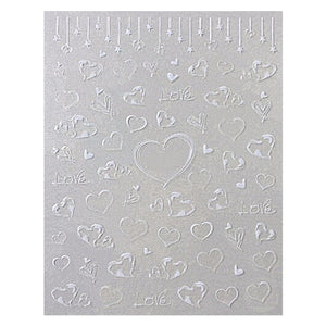 Love Hearts White Nail Stickers