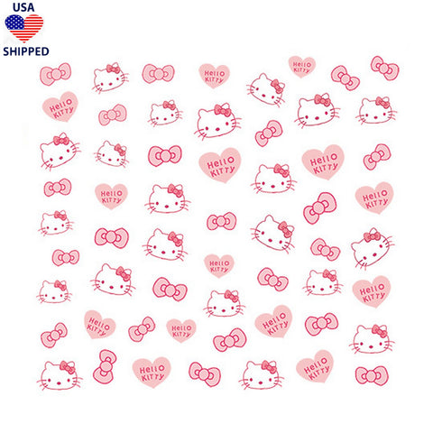 (USA) Kawaii Kitty Pink Nail Stickers