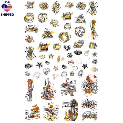 (USA) Abstract Shapes Gold Holo Nail Stickers