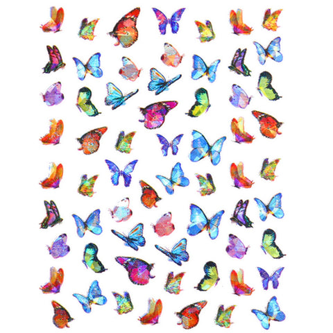 Butterflies Holo Vibrant Mix Nail Stickers
