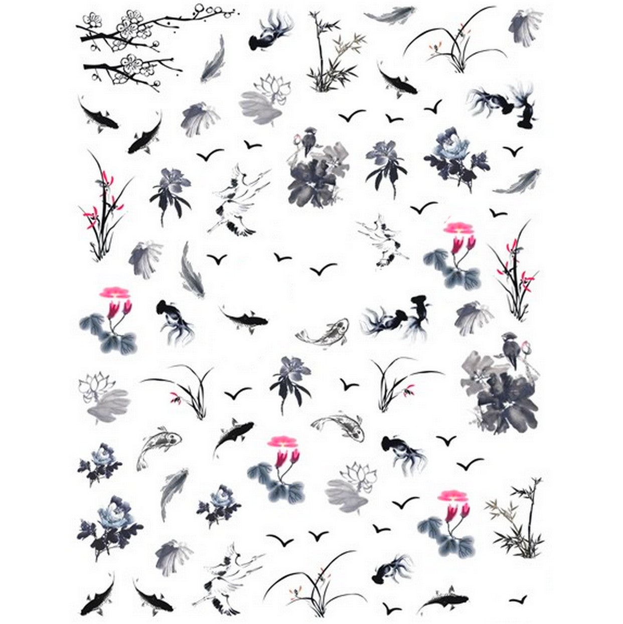 Animals Japanese Pond Nail Stickers
