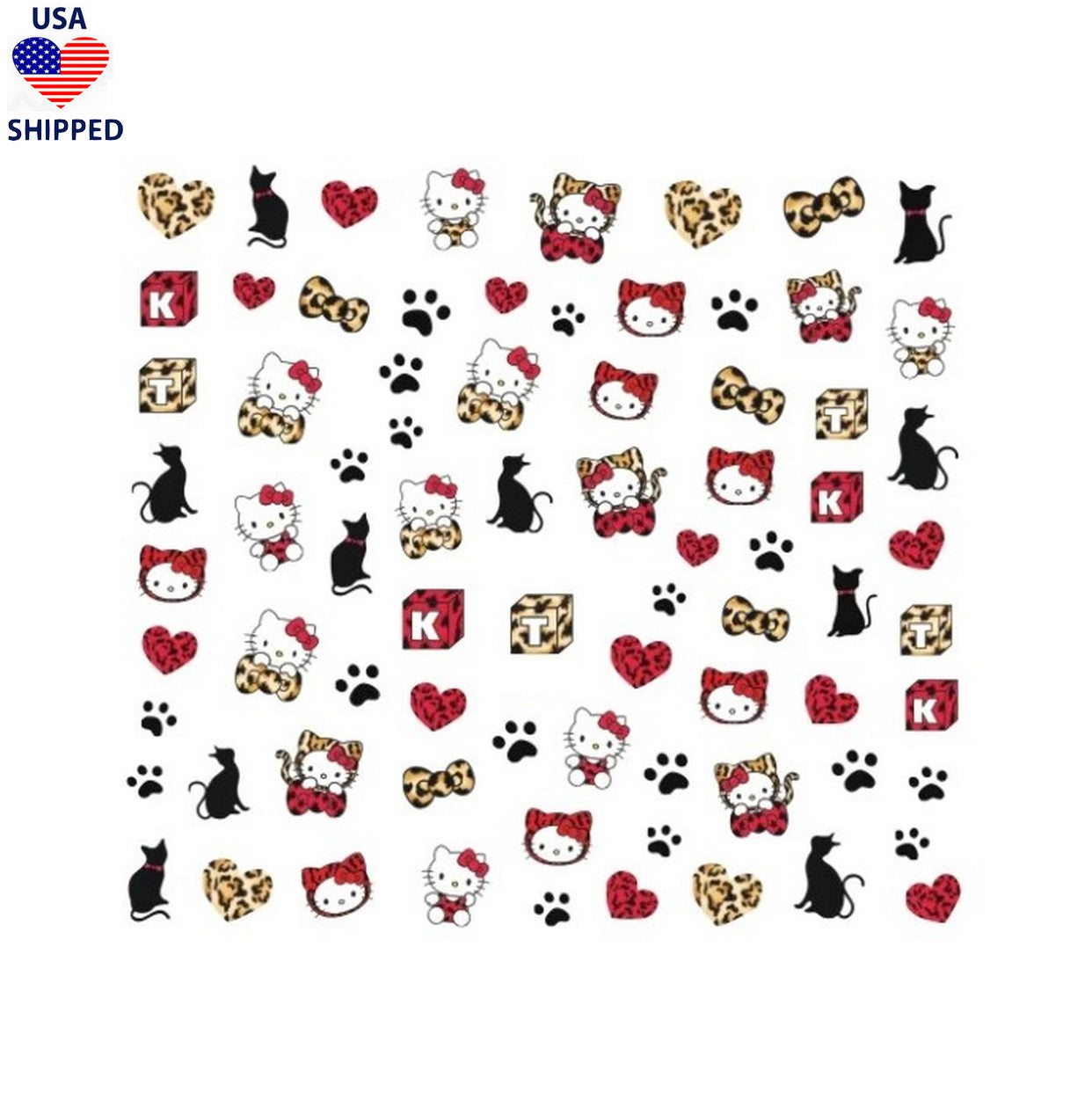 (USA) Kawaii Kitty Leopard Nail Stickers