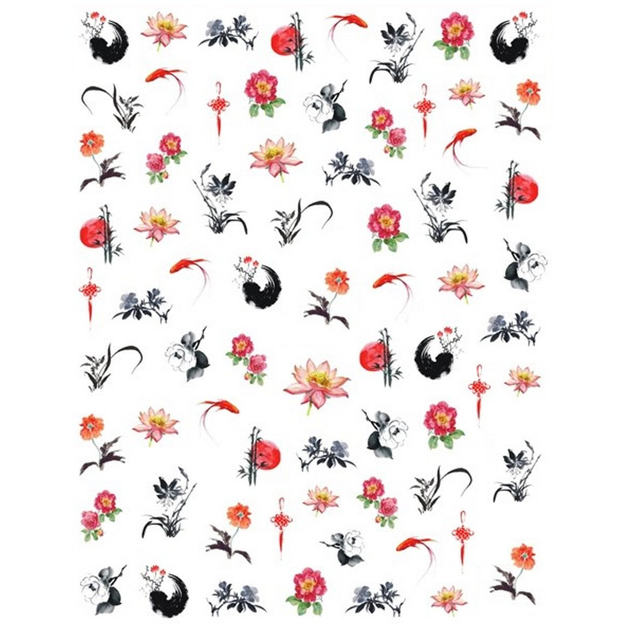 Animals Koi Zen Garden Nail Stickers
