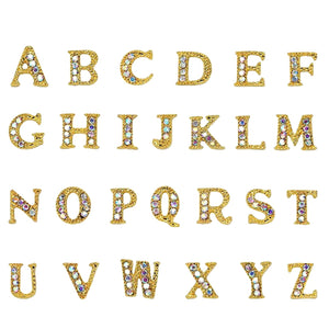 26 Letters Set / Gold / AB Crystals