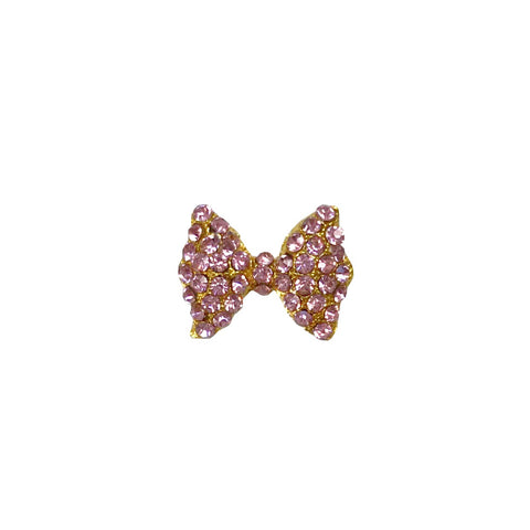 Gold Large Rose Pink Crystals Bow x1