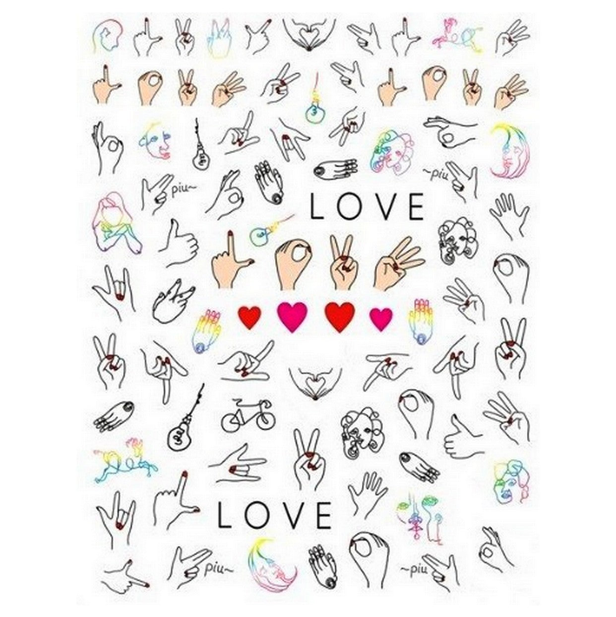 Abstract Love Hand Signs Nail Stickers