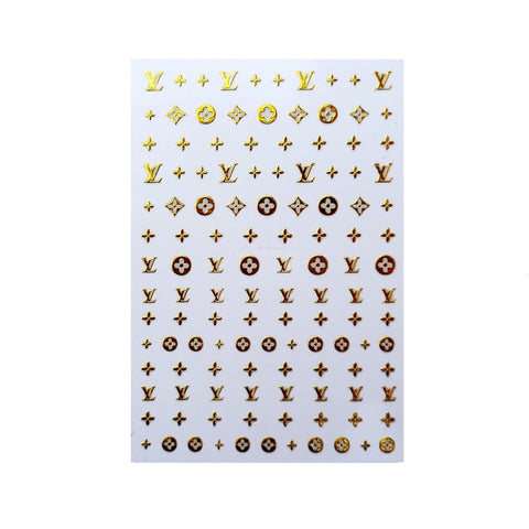 L Gold Dainty Pattern Nail Stickers