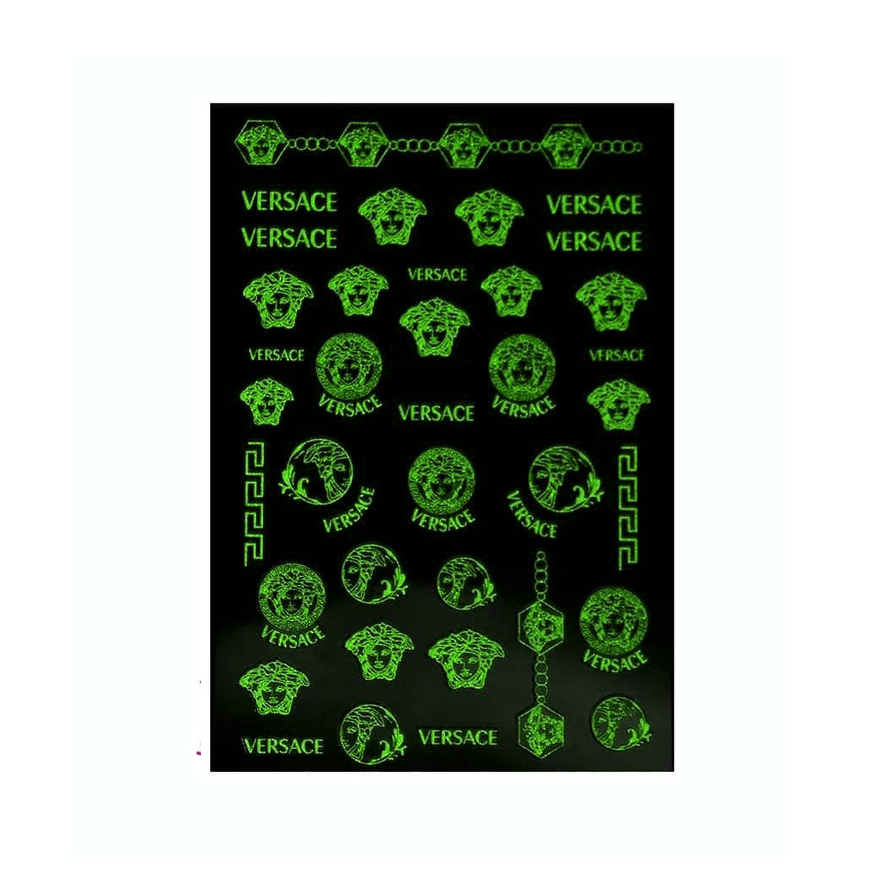 V White/Glows in The Dark Nail Stickers