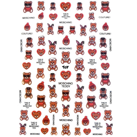 M Bear Nail Stickers