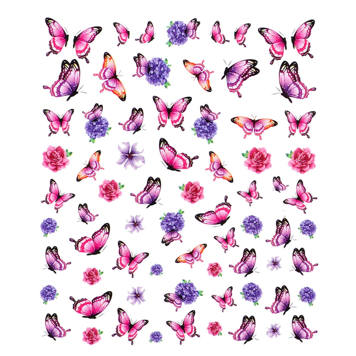 Butterflies Metallic Pink Nail Stickers