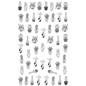 Plants Monochrome Cacti Nail Stickers