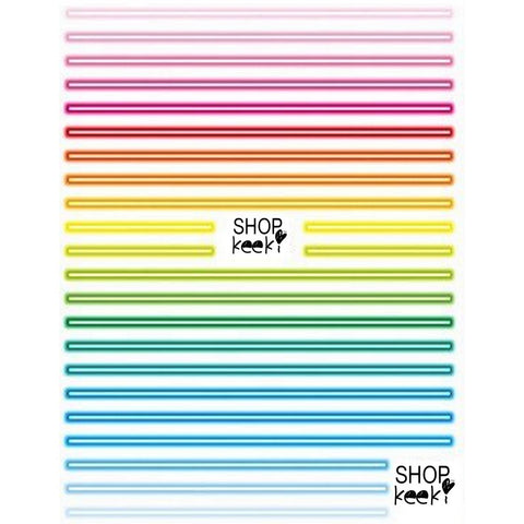 Pattern Neon Lights Stripes Stickers