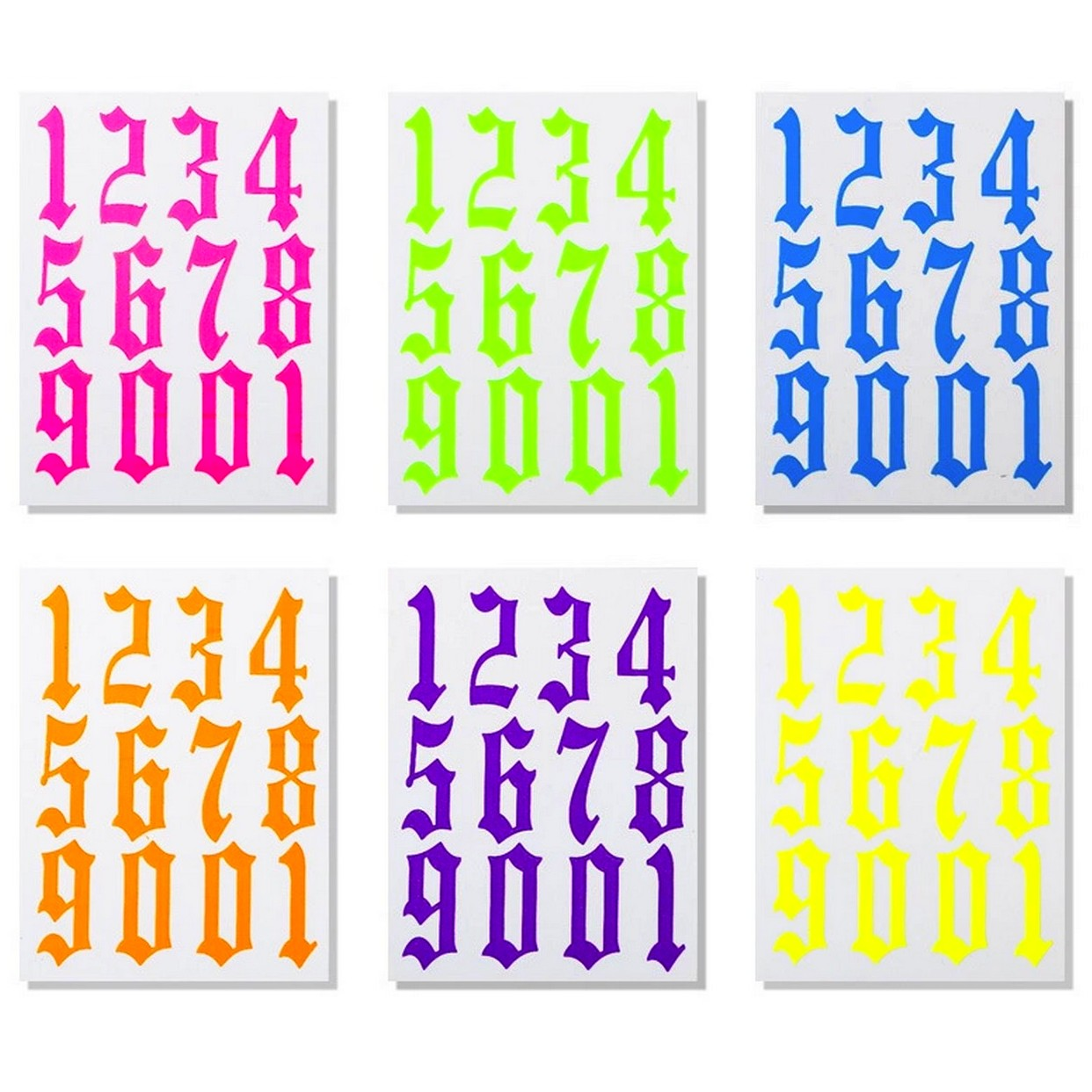 Font & Numerals Large Numbers 6 Sheets Nail Stickers