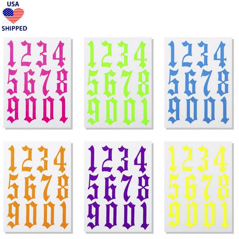 (USA) Numerals Gothic English Set of 6 Nail Stickers