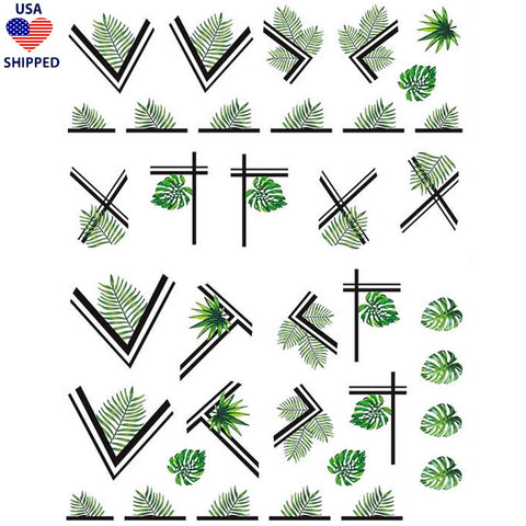 (USA) Plants Palm Leaves Borders Nail Stickers