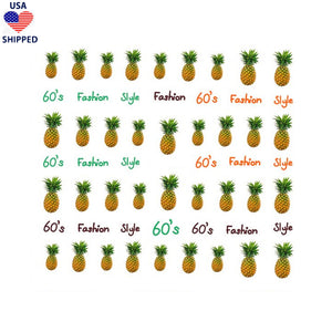 (USA) Food/Drinks Pineapples Nail Stickers