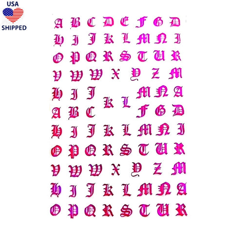 (USA) Font Gothic English Metallic Pink Nail Stickers