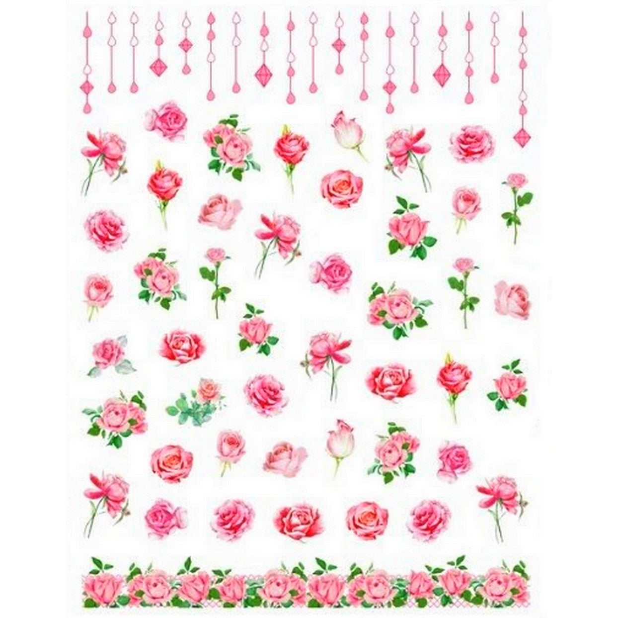 Floral Romantic Pink Roses Nail Stickers