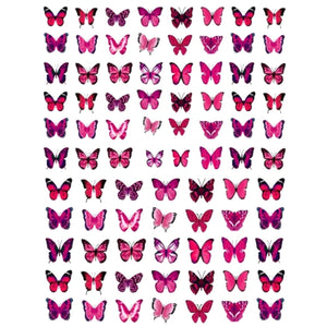 Butterflies Small Pink Nail Stickers