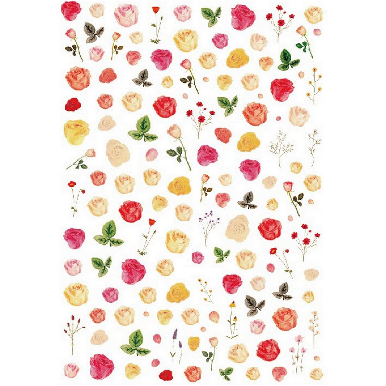 Floral Rose Buds Flower Nail Stickers