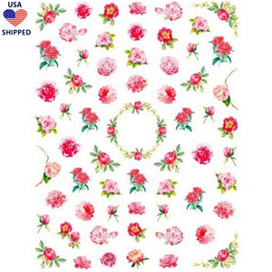 (USA) Floral 50's Vintage Flowers Nail Stickers