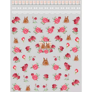 Floral Roses & Bunnies Nail Stickers