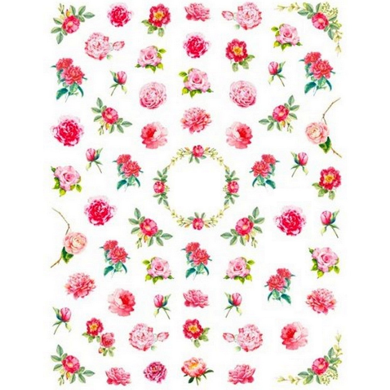 Floral Vintage 50's Roses Nail Stickers