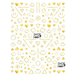 Smiley Shape Mix Gold Nail Stickers