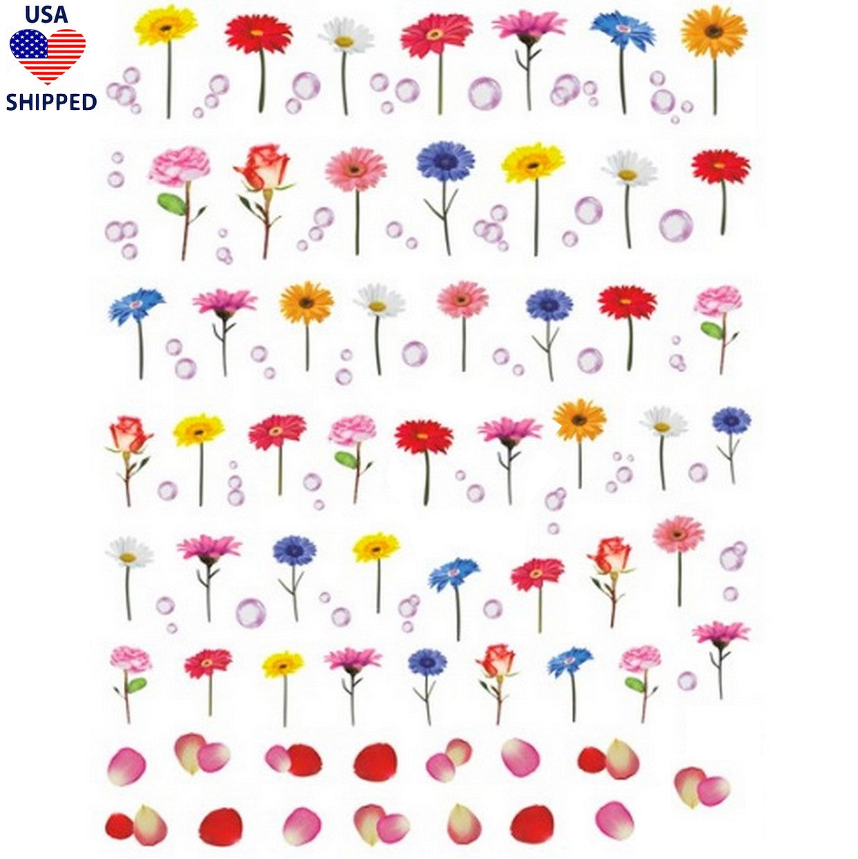 (USA) Floral Single Stem Flowers Nail Stickers