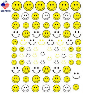 (USA) Smiley Yellow Nail Stickers