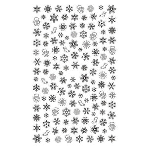 Christmas Snowflakes Black Nail Stickers