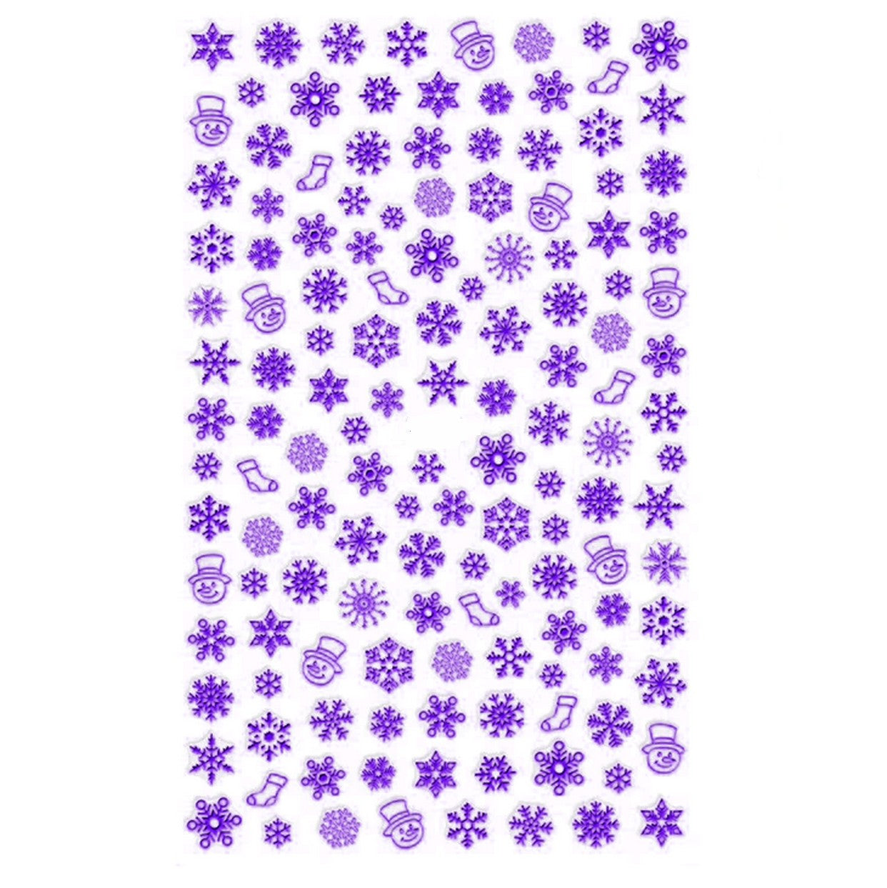 Christmas Snowflakes Electric Purple Nail Stickers