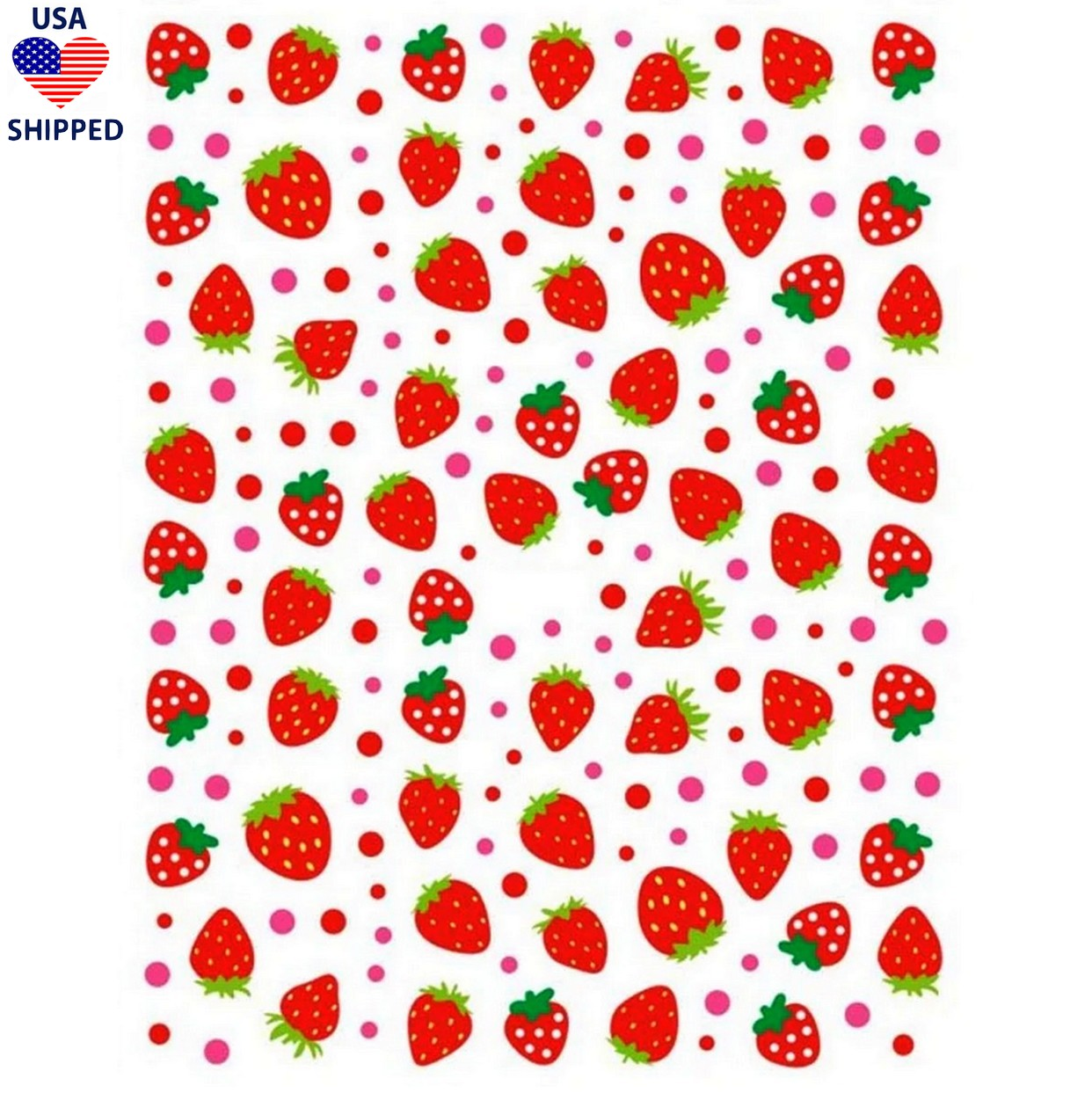 (USA) Food/Drinks Chunky Strawberries Nail Stickers