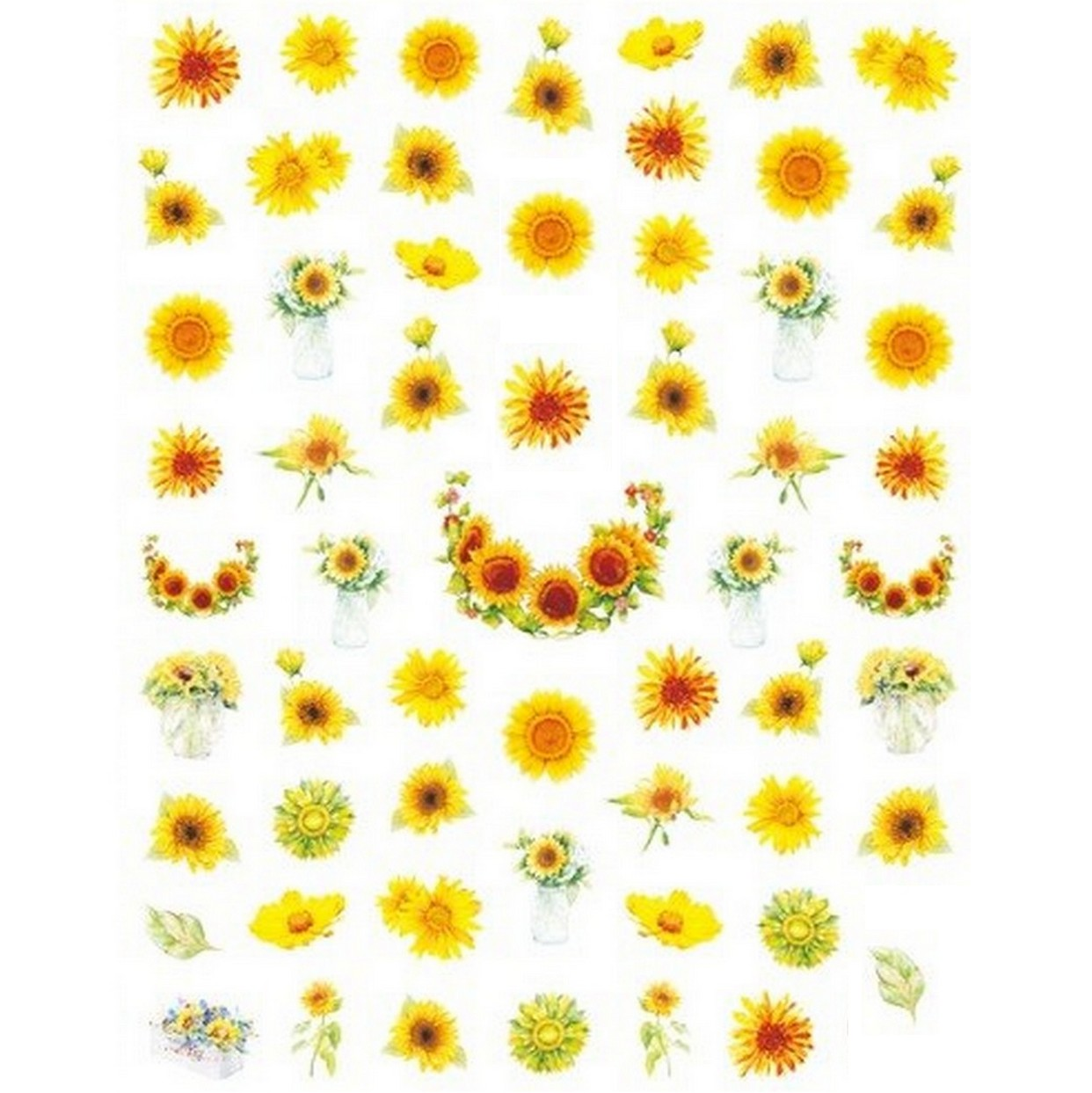 Floral Yellow Variety Nail Stickers