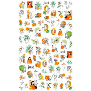 Abstract Tangerine Nail Stickers