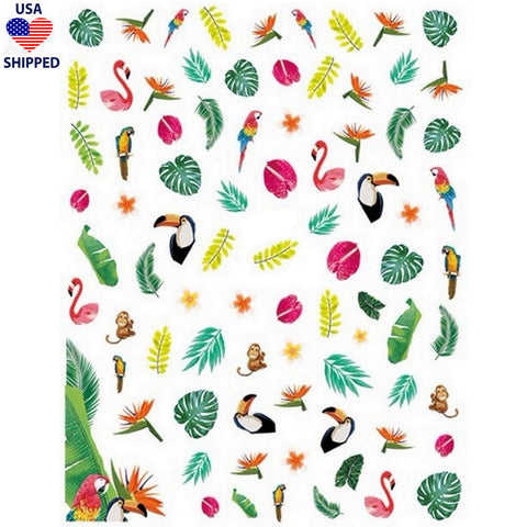 (USA) Summer Tropical Birds Nail Stickers