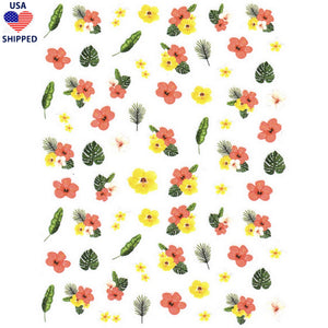 (USA) Floral Hawaiian Flowers Nail Stickers