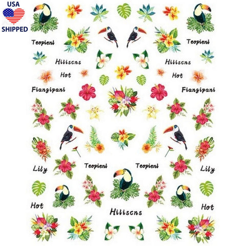 (USA) Summer Tropical Toucans Nail Stickers