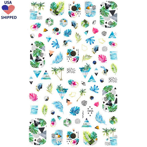 (USA) Summer Tropical Watercolor Nail Stickers