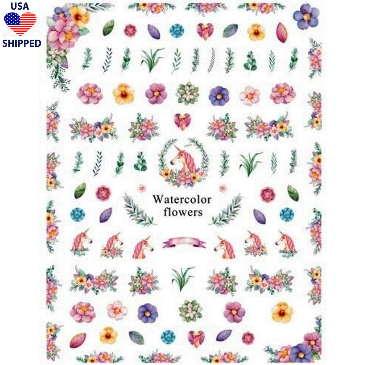 (USA) Floral Mythical Garden Nail Stickers