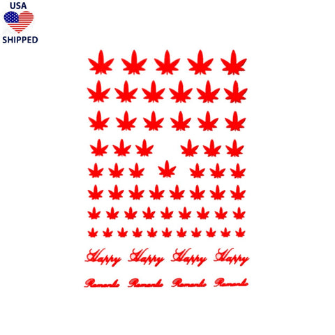 (USA) 4/20 Weed Leaf / Red Nail Stickers