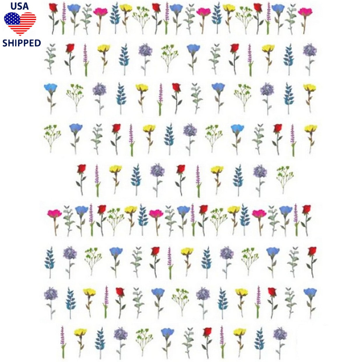 (USA) Floral Wild Flowers Nail Stickers