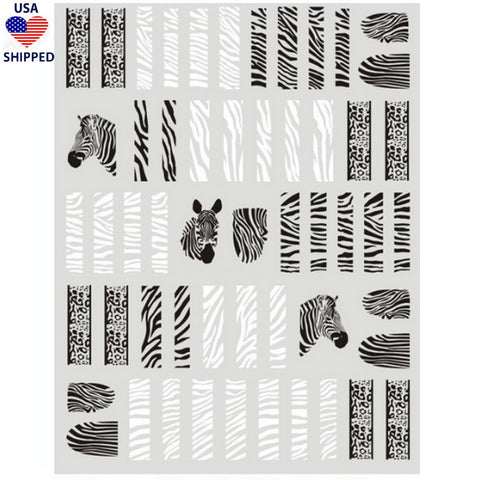 (USA) Animals Zebra & Cheetah Mix Nail Stickers