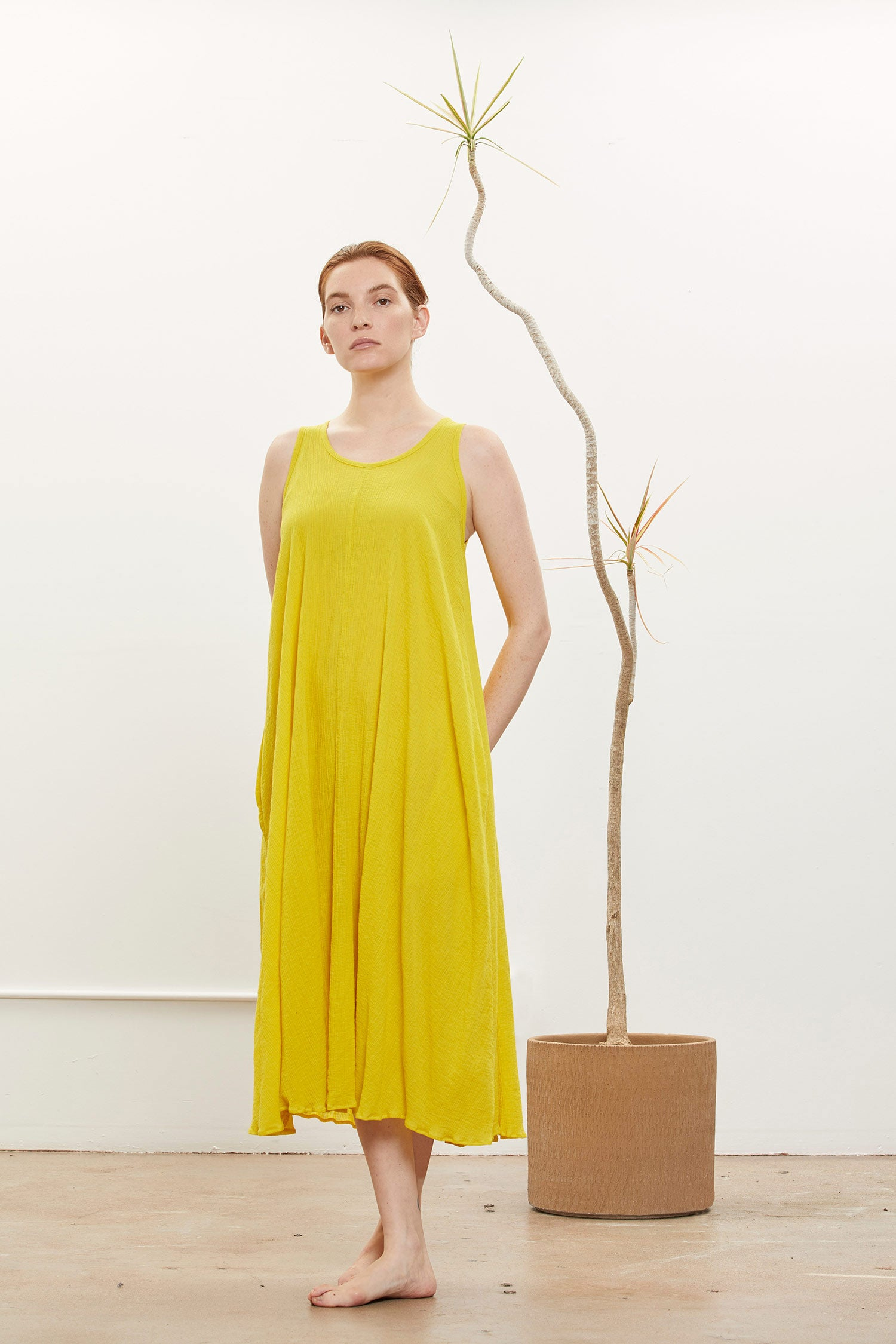 FLORAL DRESS / PG-FD26 / YELLOW